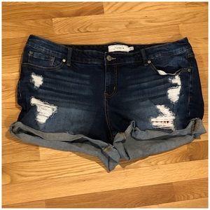 Torrid destroyed denim shorts